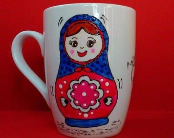 Handpainted mug. Matryoshka, from Russia with love!!