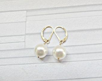 White pearl earrings, Gold lever back earrings, Pearl lever backs, Gold filled pearl earrings, White Swarovski pearl earrings, Made in UK