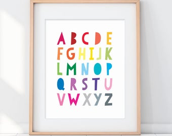Alphabet Art, alphabet Kids Poster, Colorful Alphabet Sign, Kids ABC Art, Kids ABC Poster, Rainbow ABC, abc Children's Room Art Print