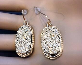 Drusy Earrings Druzy Earrings, Gold Tone trendy boho designer inspired