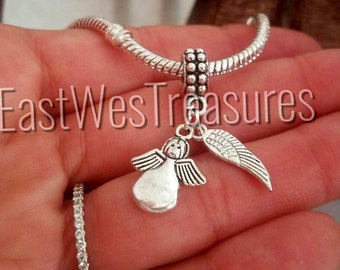 Angel, Guardian angel, angel wings charm pendant for all brand DIY Charm Bracelet & any chain necklace