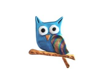 Hooty Owl Pin, Owl Jewelry, Owl Pin, Owl ID Badge Holder