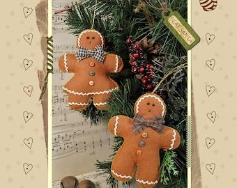 PDF - Ginger Cookies Tree Hangers Felt Pattern - PDF - Christmas Decorations