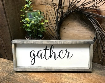 Gather, Wooden Sign, Wood Sign Saying, Rustic Framed Sign, Housewarming Gift, Gathering Room, Home Decor, Rustic Wood