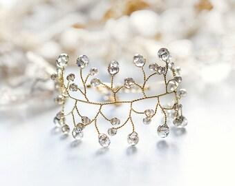 Womens gift Crystal Twig bracelet Gift idea Wide bracelet gift for girlfriend Bracelet gift Gray crystals Gold bracelet Vine 61