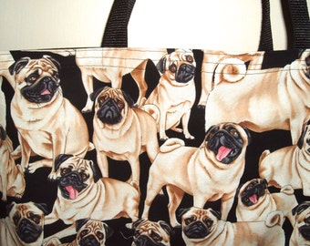 Pug Tote Bag Reversible to Black Eco Friendly Shopping Bag