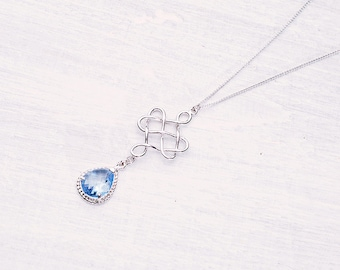 Ornament necklace blue silver