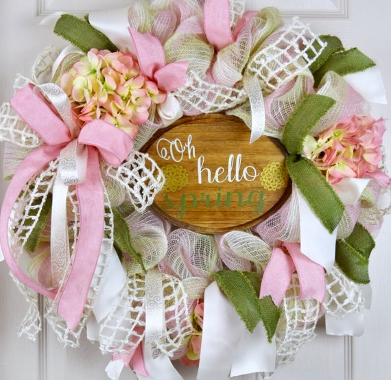 Oh Hello Spring Pink Green and Cream Mesh Wreath with Pink Hydrangeas; Easter Spring Door Decor Wreath; Cottage Chic Spring Easter Wreath