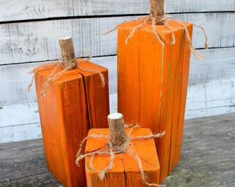 Set of 3 Reclaimed Wood Pumpkins • Thanksgiving Decor • Farmhouse Decor