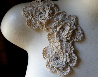 3 Flower Appliques Crocheted in Natural Cotton  CFA 2