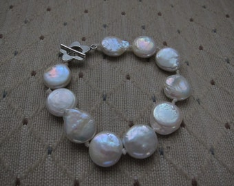 Genuine Freshwater White Coin Pearls & Silver Bracelet