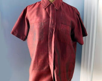 Vintage Thai Silk Tailored Blouse - 1960s-80s Chanawatra - Hand-Woven Maroon Short Sleeved Tailored Blouse - Hidden Buttons - Size M