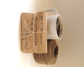 Coffee Wedding favors. Unique wedding favors. Freshly roasted and handmade with love. Set of 50 Johnny Cash Quote or  Love is Brewing