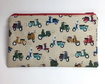 Pencil Case Zip Pouch - Scooters On the GO - Beige