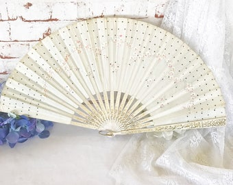 Large Antique Cloth Ladies' Hand Held Fan, Victorian Floral Opera Folding Fan sequins Hand Painted Pink rose gold wood Shabby Chic Edwardian