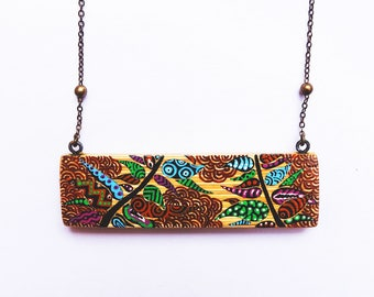 Necklace bamboo rectangle hand painted green leaves