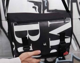 Crossbody bag. Messenger bag laptop man and woman. Vegan waterproof cross body bag. Shoulder bag from recycled advertising billboard banner