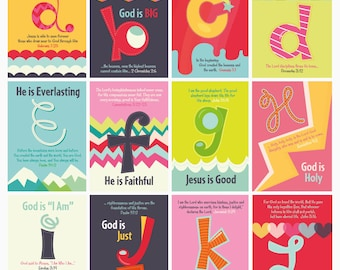 ABC Scripture Cards, ABC's of God Scripture Art, Christian Kids Set of 26  Art