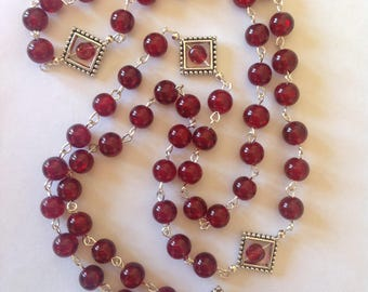 Long red glass necklace flapper necklace long necklace red necklace beaded necklace fashion necklace handmade crystal necklace