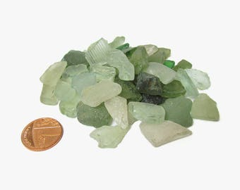 Genuine english beach glass lot, Mixed color sea glass craft supply, Green and clear frosted glass mosaic shards, Seafoam seaglass 50 pieces