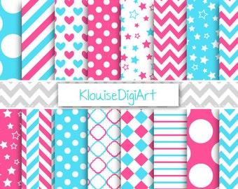 Bright Blue and Hot Pink Printable Digital Paper Pack with Quatrefoil, Chevron and Polka Dots for Personal and Small Commercial Use (0094)