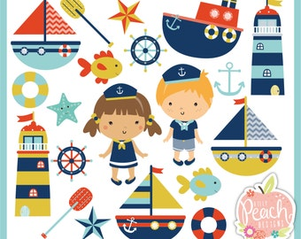 INSTANT DOWNLOAD - Nautical Digital Clipart Set for Personal and Commercial Use