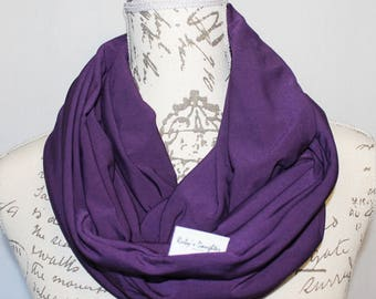 Purple Scarf / Infinity Travel Scarf with Hidden Zipper Pocket/ Travel scarf / Passport Scarf / Mother's Day Present / Pink Scarf