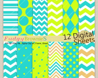 "ON SALE aqua digital paper pack, digital paper pack, 12x12"", No.280-2, chevron, lime green, sea blue"