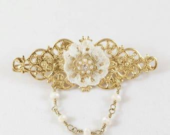 Bridal Hair Pin, Bridal Hair Clip, Gold Hair Clip, Gold Hair Pin, Vintage Style, Bridesmaid Gift Idea, Bridal Shower Gift Idea, Gold Lace