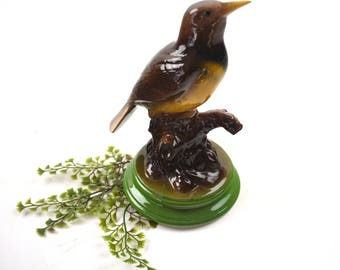 "Vintage Bird Figurine Porcelain Ceramic Glazed Pottery Robin Meadowlark 8.5"" Statue Gifts For Mom Birding Avian Ornithology"
