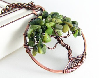 Tree Of Life Pendant Wire Wrapped Jewelry Nephrite Jade Necklace Copper Jewelry Wire Wrapped Pendant Tree Necklace