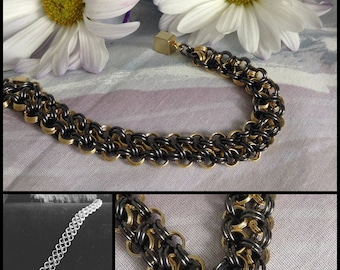 Intricate One of a Kind Chainmaille Bracelet in black and gold/ magnetic closure for easy on and off