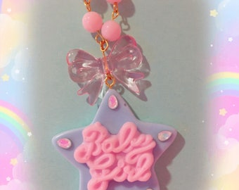 Kawaii Baby Girl Pastel Star Bow Beaded Necklace