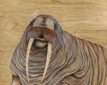 Walrus art / original walrus painting / animal artwork / kid's room art / hanging wall artwork /