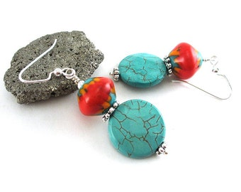 Southwestern Dangle Earrings - Lampwork Glass Earrings - Howlite Gemstone Earrings - Turquoise Earrings - Sterling Silver - SRAJD