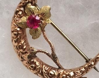"""Crescent Moon Brooch 14k Rose Gold & Green Gold Honeymoon Pin  1"""" long"""