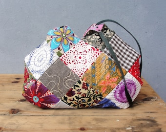 Patched History Bag - Vintage Fabrics and Doilies Patchwork