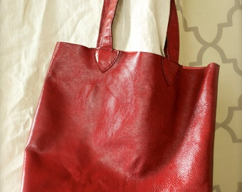 Red Leather Hobo Handbag