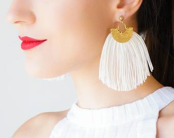Tassel Earrings Bridal Earrings Statement Jewelry Bohemian Earrings Winter Weddings Bridal Jewelry Tassel Jewelry/ FANFARELLA