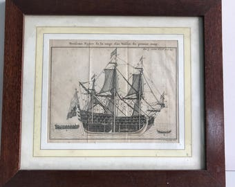 Framed etching of galley french 1700's