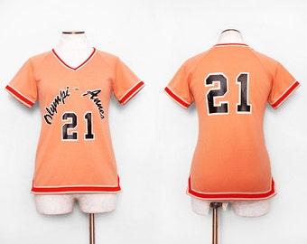 1970s Orange Varsity Jersey / Small Medium