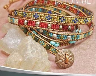 Wrap Bracelet Tutorial. Beadwork Pattern Leather Bracelet. By Esther Marker. Instant Digital Download PDF