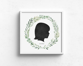 child silhouette portrait, custom silhouette print, greenery wreath, gift for mom, mothers day gift, rustic art, farmhouse art, dad gift