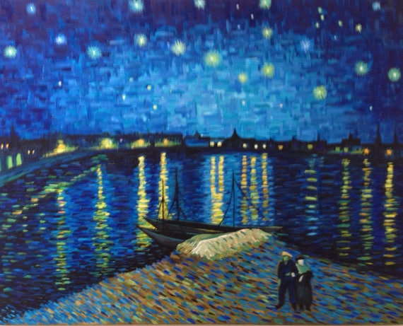 hand painted vincent van gogh starry night over the rhone. Black Bedroom Furniture Sets. Home Design Ideas