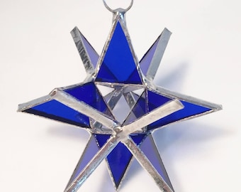 3 inch Stained Glass Moravian style Suncatcher STAR  christmas ornament,  Hand Made !