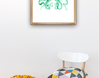Emerald green Octopus A3 plus sized Poster Wall Art - Emerald green octopus - sea life print SAS252A3P