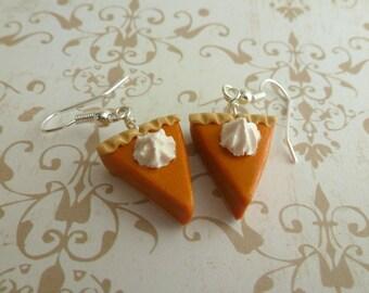 Pumpkin Pie Earrings Miniature Food Jewelry Autumn Jewelry