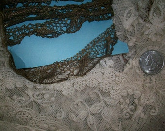 1 foot of Hand done 18th century Antique french metal lace trim