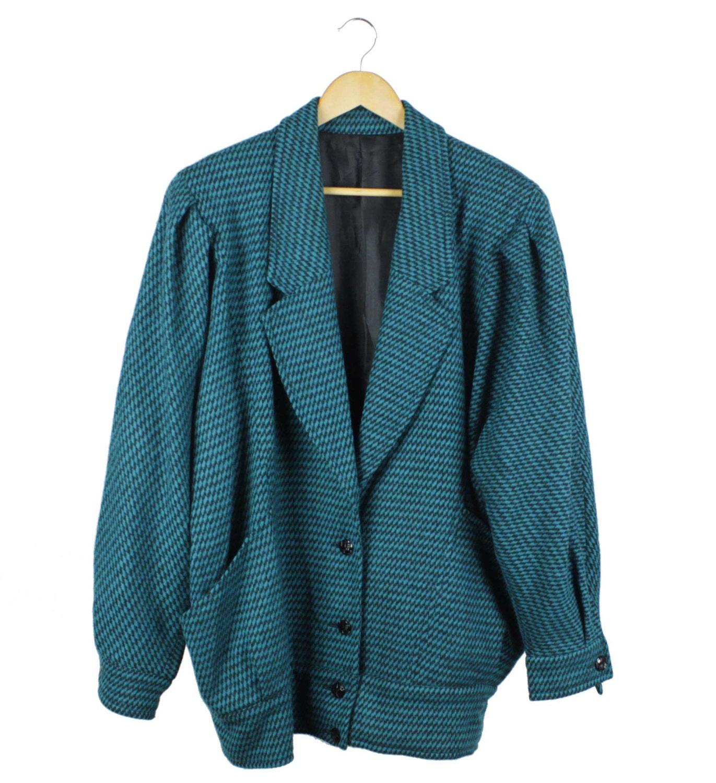 Vintage 80s Check Coat, Teal, Black, Slouch, Batwing, 80s fashion, 90s fashion, 90s fashion, 90s clothing, 90s coat, unisex, 80s coat