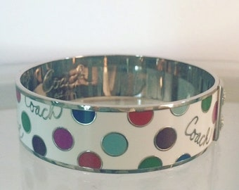 Silver Authentic Coach Bangle Bracelet